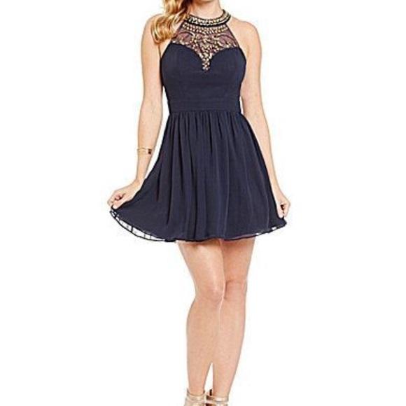 71dd4b55e B Darlin Dresses | Embellished Navy Blue Halter Dress | Poshmark